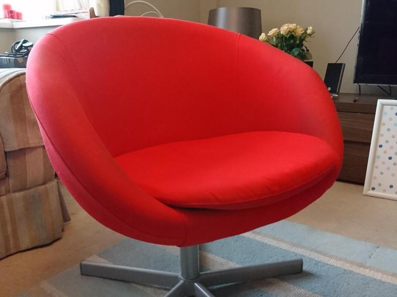 Red IKEA Round Office Chair East Cowes Wightbay