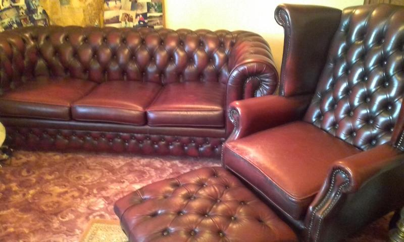 Thomas Lloyd Chesterfield Sofa bed with matching armchair and footstool in Newport Sold Wightbay