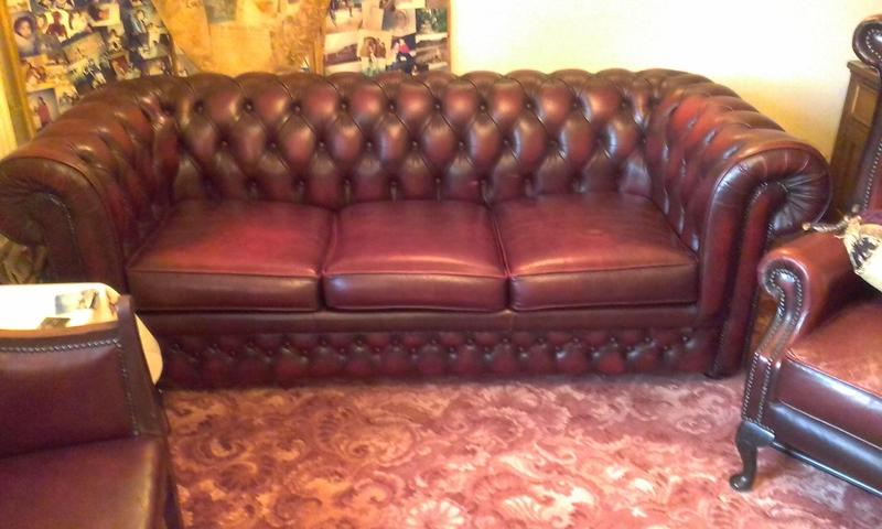 Thomas Lloyd Chesterfield Sofa bed with matching armchair and footstool Newport Wightbay