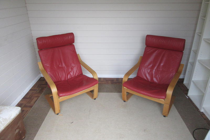 Ikea Poang Chair In Leather ~ Red Leather IKEA POÁNG chairs  Sandown  Sold  Wightbay