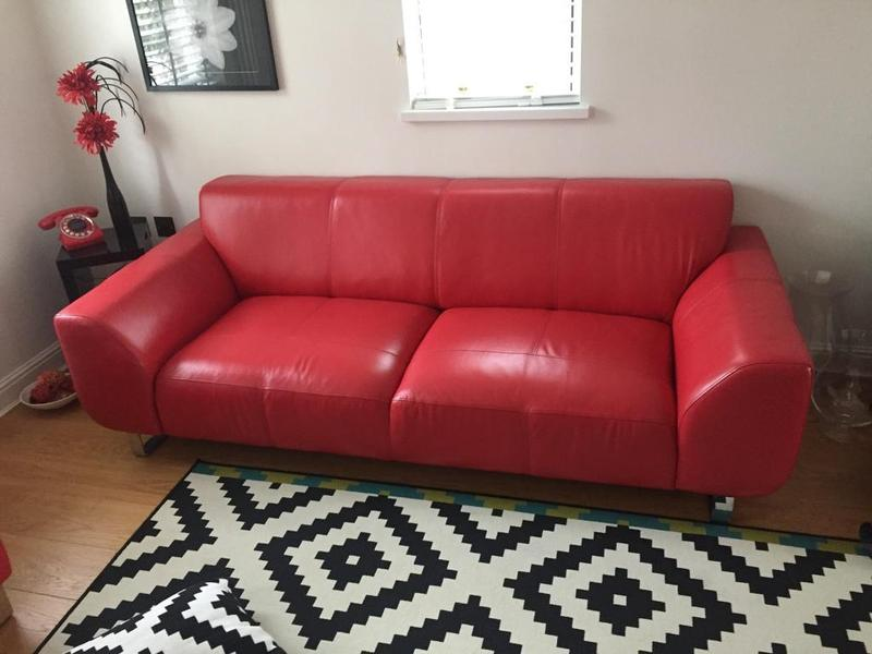 Quality DFS Red Leather Sofa X 2 Chair Footstool 4
