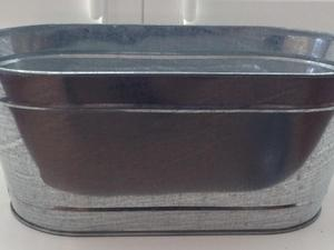 Set Of 3 Galvanized Zinc Herb Pots With Tray Newport