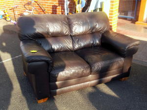 Leather sofa £95 in Cowes