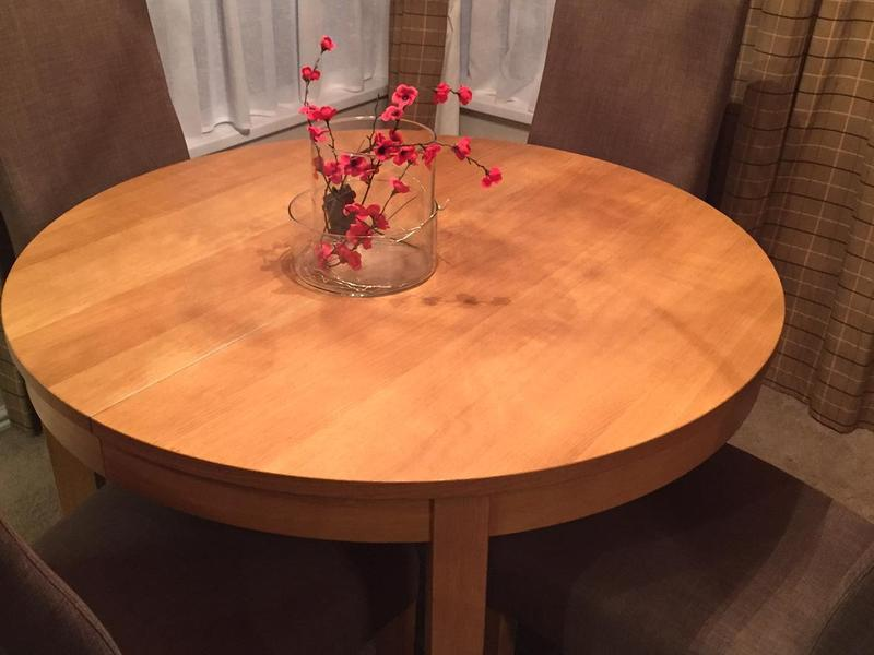 Ikea oak veneer dining table in sandown sold wightbay - Oak veneer dining table ...