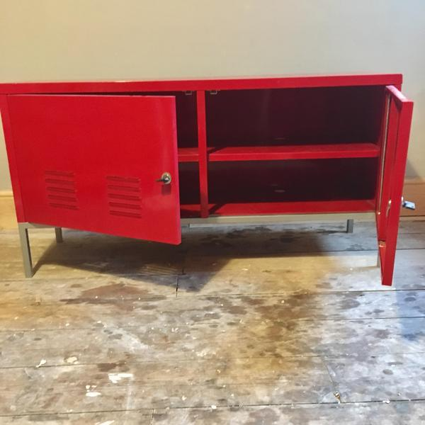 ikea retro red metal sideboard cabinet storage unit ps cowes wightbay. Black Bedroom Furniture Sets. Home Design Ideas