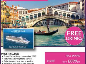 Venice pre cruise stay followed by All Inclusive 7 night cruise on NCL Norwegian Star fr £899pp in Shanklin
