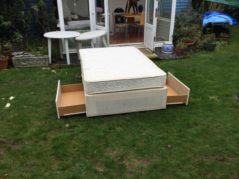 4ft Divan Bed With 2 Drawer Storage And Sprung Mattress In Bembridge Sold Wightbay