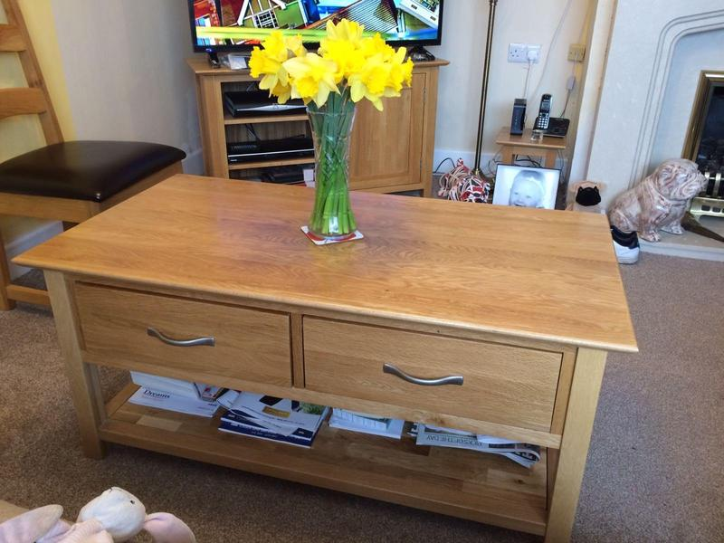 Solid oak large coffee table with 2 drawers in newport for Large coffee table with drawers
