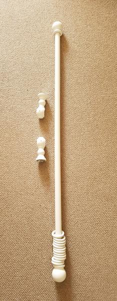 White wooden shabby chic curtain pole newport isle of - Shabby chic curtain poles ...