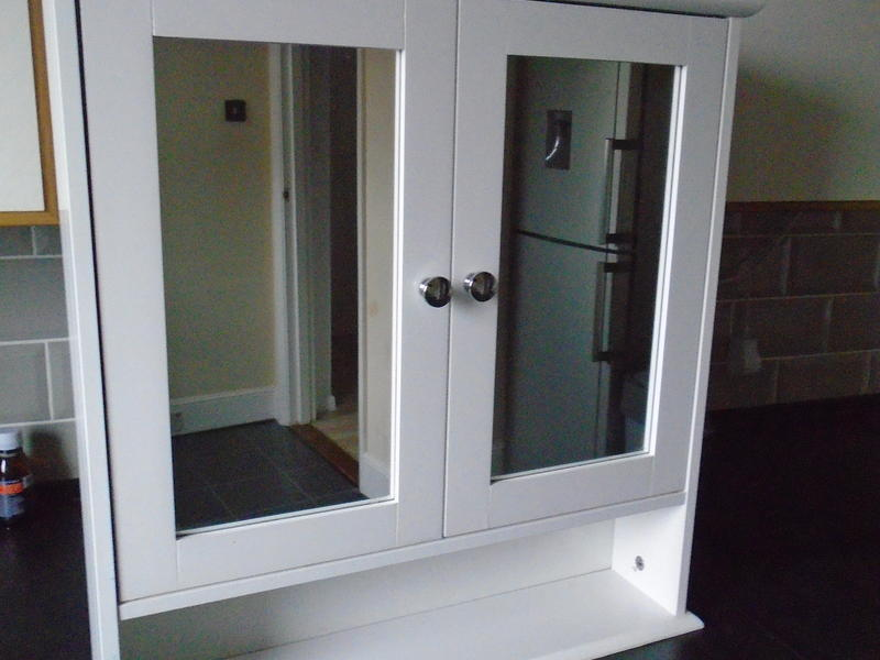Double Door White Bathroom Mirror Cabinet In Sandown